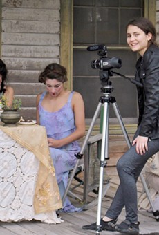 Filmmaker Alexia Salingaros on the set of Lady of Paint Creek, one of her two films accepted this year for the SXSW Texas High School Shorts competition.