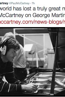 Paul McCartney's tweet regarding Martin's death.