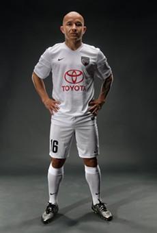 San Antonio FC midfielder Rafa Castillo shows off the team's alternate jersey.