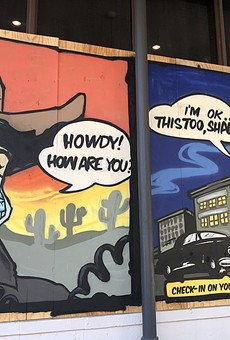 Public images created by artists who adorned boarded up storefronts on Austin's 6th Street entertainment district.