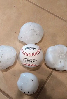 Examples of the baseball-sized hail that fell in San Antonio last night.