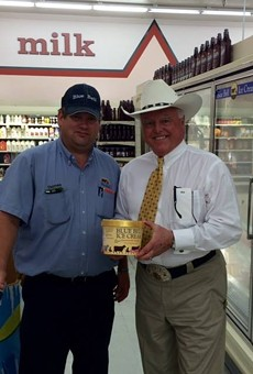 Agriculture Commissioner Sid Miller with another Texas luminary, Blue Bell Ice Cream.