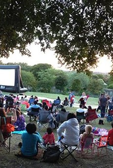 Enjoy a movie outside with San Antonio's Slab Cinema.