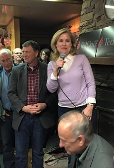 Heidi Cruz speaks at a campaign event in Strawberry Point, Iowa in January.