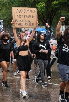 Activists demand police accountability during a protest earlier this year.