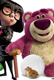 (From left) Mike Wazowski, Dory, Edna Mode, Lots-O'-Huggin' Bear, Rhino, Rango, Sid and Olaf.