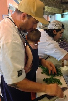 Sypesteyn cooking with his latest addition.