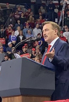 MyPillow CEO Mike Lindell speaks at a pro-Trump rally.