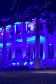 Blue lights illuminated the Texas Governor's Mansion earlier this month in remembrance of five Dallas police officers killed by a shooter who targeted law enforcement.