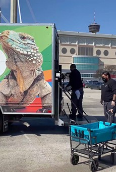 The San Antonio Zoo's catering crew delivered a truckload of boxed lunches to the Alamodome.