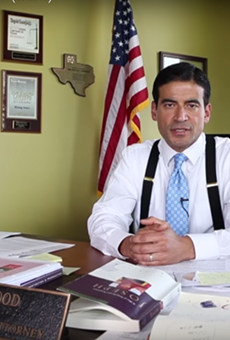 """This still from a YouTube video shows Bexar County District Attorney Nicholas """"Nico"""" LaHood saying autism is caused by vaccines."""