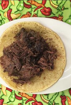 Barbacoa taco from La Bandera Molino