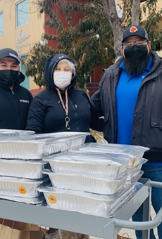 Torchy's Tacos Medical Center location Managing Partner Joe Joyer rallied with staff to deliver 400 tacos to the Haven for Hope staff.