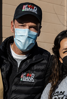 San Antonio Food Bank President and CEO Eric Cooper and actress Eva Longoria.