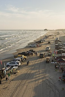 People park on the beach in South Padre Island, pre-COVID.
