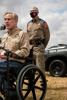 Gov. Greg Abbott talks about border security at a news conference at Anzalduas Park in Mission on March 9, 2021. Abbott, who earlier this month reversed his own requirements for social distancing in public places and mask-wearing, followed that announcement with news conferences on the border and in Dallas.