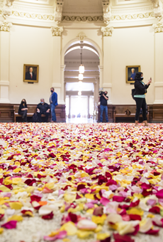 Young voting-rights activists dumped thousands of multicolored rose petals into the Capitol rotunda Thursday.