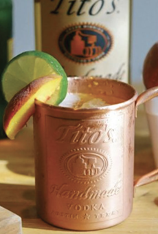 Peach-infused Tito's Vodka and Ginger Beer complete Twin Liquors' Peach Mule cocktail combo.