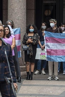 People held up a transgender flag earlier this month at an Equality Texas event at the Capitol.