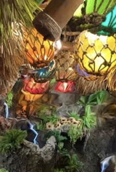 Hugman's Oasis features a lush interior with tiki-centric details.