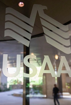 USAA's logo is emblazoned on a window of its sprawling corporate campus.