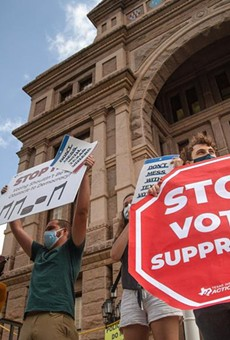 Protesters rally in opposition of Senate Bill 7 at the Texas Capitol.