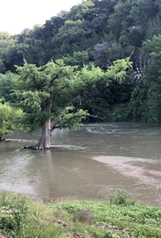 A May 30 photo shows the Guadalupe River at dangerous levels.