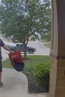 San Antonio Pizza Hut employee fired for throwing pizza onto customer's doorstep.