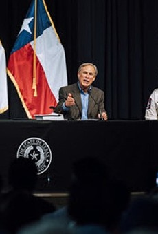 Gov. Greg Abbott speaks at the recent South Texas press conference where he pledged to restart Trump's border wall.