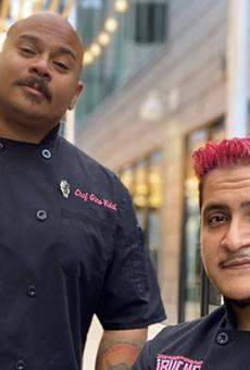 Chefs Gino Vidal (L) and Jerry Moreno of ¡Bucho! Tejano Street Fare will represent San Antonio in the Taco Rumble.