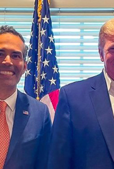 Texas Land Commissioner George P. Bush (left) poses with Donald Trump during his visit to the former president's New Jersey golf club.