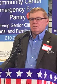 State Rep. Leo Pacheco speaks to a group during a 2019 appearance.