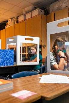 Fifth graders at Jacob's Well Elementary School in Wimberley work from behind desktop barriers meant to prevent the spread of Covid-19 on September 4, 2020.
