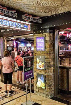 People wait in line outside a Toby Keith I Love This Bar and Grill in Las Vegas.