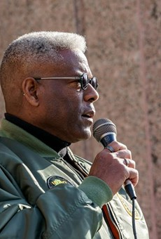 Allen West, then chairman of the Texas GOP, speaks at a rally at the Texas Capitol on January 9, 2021.