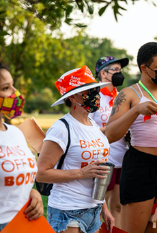 Pro-choice protesters gather in San Antonio earlier this month following the passage of Texas' restrictive new abortion law.