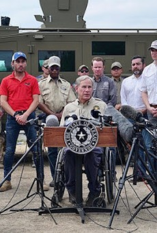Gov. Greg Abbott speaks during a border press conference earlier this month.