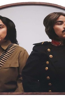 Mari Hernandez jabs at Texas history in her staged self portrait Pitted Brother Against Brother.