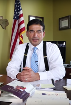 "This still from a YouTube video shows Bexar County District Attorney Nicholas ""Nico"" LaHood saying autism is caused by vaccines."