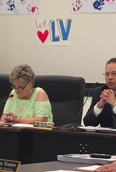 LVISD Superintendent Jose Moreno addresses a packed cafeteria.