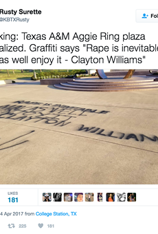 Someone Vandalized the Aggie Ring Plaza with Pro-Rape Graffitti