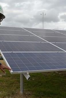Solar panels installed at Fort Sam Houston in January 2017.