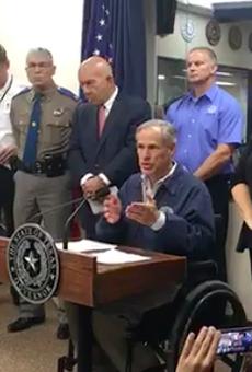 Gov. Abbott updates reporters on Hurricane Harvey in Austin Friday.