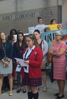 A SAISD speaks out in support of DACA and LGBT students before Monday night's board meeting.