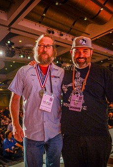 Freetail's head brewer Jason Davis (left) and owner Scott Metzger during 2017's Great American Beer Festival awards ceremony