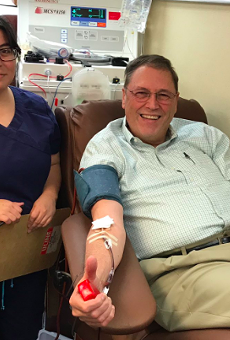 District 9 Councilman John Courage giving blood to victims of Sutherland Springs on Monday, Nov. 7.