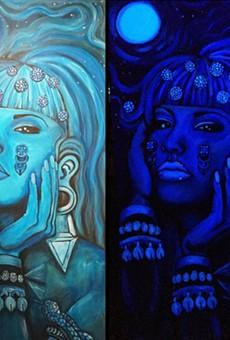 Xicana Artist Paints Black Light Piece of Selena as Aztec Figure