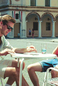 Armie Hammer (left) and Timothee Chalamet take in the scenery in Call Me by Your Name.