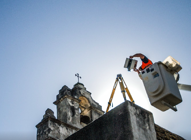 A CyArk worker uses digital scanning gear to capture images of the San Antonio Missions. - VIA GOOGE'S OPEN HERITAGE SITE
