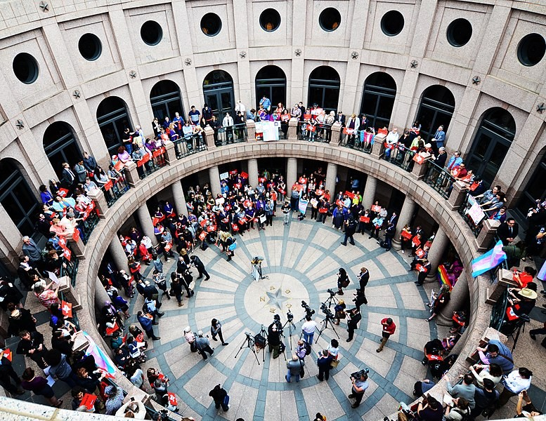 "Texans protest the ""bathroom bill"" last year outside a Senate committee hearing. - WIKIMEDIA COMMONS"